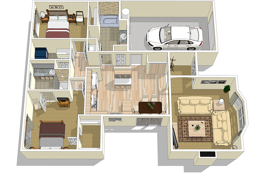 Delta floorplans crossroads senior living for Duplex plans for seniors